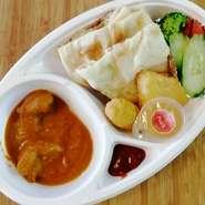 タンドリーチキン、本日のカレー1種(肉カレーor野菜カレー)、ライス、ミニナン、サラダ
