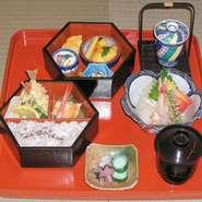 六角二段重、造り、茶碗蒸し、赤出汁、香の物  1785円