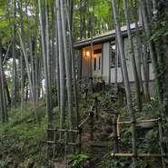 【むくの実亭】は、「こんなところにレストラン?」と驚いてしまうような竹林に位置しています。