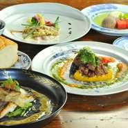 フレンチと和食を融合させた創作料理がテーマの当店。季節の味をお楽しみいただけます。