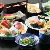 寿司だけでなく料理も美味しいコース料理は予算と好みに応じて。