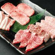 上タン塩・神戸牛カルビ・ロース・ハラミ・三元豚カルビの人気の定番5種盛り!