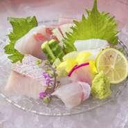 博多港直送の魚を織り交ぜた鮮魚の5点盛り魚類は仕入れにより異なります。 人数様に合わせて量を変更できますので、ご相談下さい。