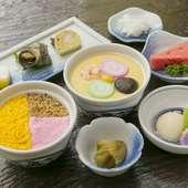 吉宗定食は、茶碗むしに蒸し寿司、角煮、小鉢付きで手ごろな値段