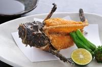 高級魚のオコゼをじっくりと低温油で揚げているので、パリパリの食感を楽しめます!