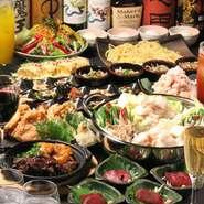 黄金屋のもつ鍋は自慢の博多醤油・味噌はもちろんのこと、旨辛唐辛子やクリーム&チーズといったオリジナルの創作もつ鍋もお楽しみ頂けます。飲み放題もついたお得な宴会コースで体も心も温まる忘年会を。