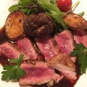 アスパラひつじもも肉のソテー