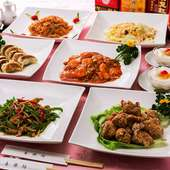 お料理のみの価格となります♪海老チリ、ふかひれスープ入り(+1,500円で2時間飲み放題可!)