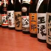 日本酒・焼酎併せて80種類以上の地酒