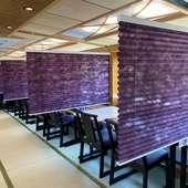 椅子テーブル式のお船はパーテンション完備で半個室になります