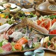 活魚刺身の他にも、握り寿司、桜姫鶏の串焼きなどいろいろと楽しめます!