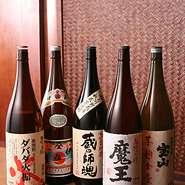 様々な焼酎を全国各地から取り寄せております。期間限定の品もございます。