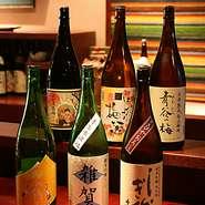 様々な日本酒を全国各地から取り寄せております。期間限定の品もございます。