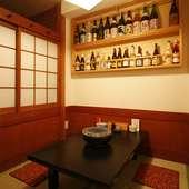 掘りごたつの個室は美食の心を満たしてくれる。