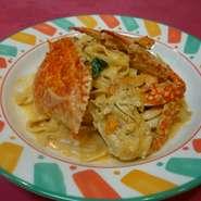 タリアテッレ(生パスタ) わたり蟹のトマトクリームソース