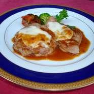 国産豚ヒレ肉の生ハムチーズ重ね焼き