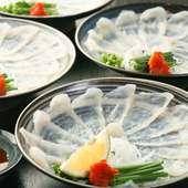 旨い地酒と素材懐石料理の玄海の魚介をふんだんに使ったコース