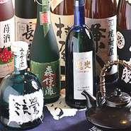 焼酎やリキュール類は一杯からお楽しみ頂けます。又、お座敷のお客様向けに3種類の焼酎ボトル(飲み切り)を用意しております。