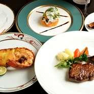 伊藤牧場のA5ランク松阪牛、伊勢志摩で獲れた伊勢海老、旬の野菜を使った豪華なコース。前菜には旬野菜が使われています。季節、仕入れ状況でコース内容が異なるのも楽しみの一つ。