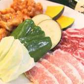 お試しセット(カルビ、トントロ、ホルモン、上ミノ、焼き野菜)
