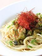明太子と高菜のピリ辛和風パスタ