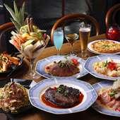 ボリューム満点の豪華お料理に+1500円で飲み放題が追加可能な大満足のコースです。