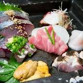 玄界灘をはじめ、九州の旬の魚を集めた『刺し身7点盛り』