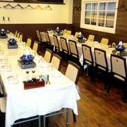 歓送迎会や忘新年会・懇親会・親睦会など大人数でのご宴会に。立食形式も可能です。