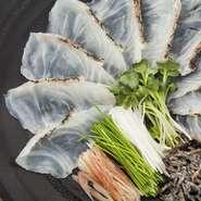 鯛の甘味を引き立てる土佐醤油でさっぱりとお召し上がり下さい。