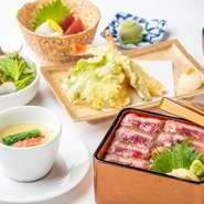 彩り鮮やかな前菜五種と茶碗蒸し、そして、贅沢に天麩羅がメイン!200Mからの絶景と共にお昼から優雅なひと時を♪ ※平日はご予約のみ