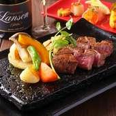 柔らかく、あっさりとした『黒毛和牛ステーキ(焼き野菜付き) フィレステーキ100g』