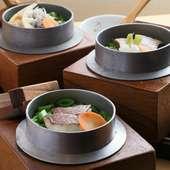 出汁で炊いたご飯に旬野菜、動物性たんぱく質を入れた絶品釜飯
