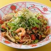 一番人気『先斗町の賑わいペペロンチーノたっぷり香味野菜添え』
