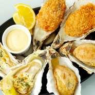 ガーリックが効いたハーブバターの当店自慢の焼き牡蠣です。