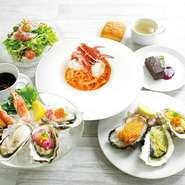 シーフードプラッター 牡蠣のマリネと生ハムのサラダ / 牡蠣スープ / パン 焼き牡蠣2ピース 牡蠣フライ1ピース  選べるメイン 1つお選びください。 デザート / ドリンク 1つお選びください。
