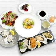 生牡蠣2ピース 牡蠣スープ / パン 前菜2種のサラダ仕立て 牡蠣の温菜4種盛り合わせ 本日の牡蠣パスタ(ハーフサイズ) デザート ドリンク 1つお選びください。