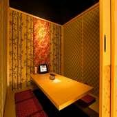 全席完全個室で落ち着いた雰囲気のプライベートな空間