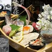 その日仕入れた新鮮な魚介類を使用した料理の数々をご堪能下さい