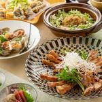 じぶんどき名物土鍋ごはんに肉と魚のダブルメインディッシュ ※飲み放題付は6500円(税込)でご案内