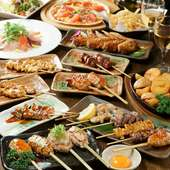 3時間の食べ飲み放題付コースを各種ご用意。最大70名様まで可能