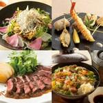 特選豚のステーキと海鮮が味わえる『旬の味覚(逸品)コース』