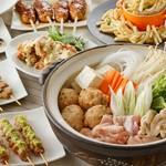 焼き鳥に加えて鍋も味わえる濃厚鶏白湯鍋コース。