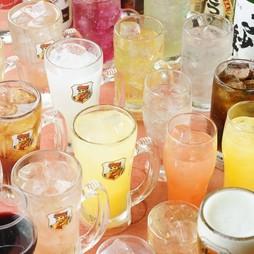 生ビールやハイボール、ワインなど60種類の豊富なドリンクがラインナップ!