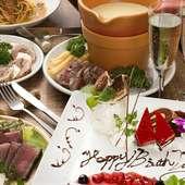 【誕生日・お祝い】メッセージ付デザートプレートでサプライズ