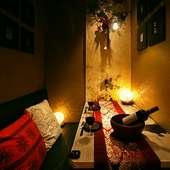 二人きりを満喫できる個室空間