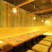 2名~48名用まである個室は、全て足を伸ばしてくつろげる個室