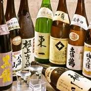 こだわってご用意した日本酒は、ポピュラーなものから世界的なコンペで高評価を受けている銘酒まで並びます。もちらんお料理との相性もぴったりです。グラスでのご用意もございますので、是非色々お試しください。