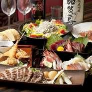 【全席個室 鮮や一夜】では、全国の提携漁港から、毎日送られてくる、獲れたて新鮮な「旬の魚」と、日照時間日本一の神奈川県三浦半島が産んだ「三浦野菜」を、使った料理が味わえます。