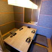 2名でもゆったり利用できる個室席をご用意。周りを気にせずくつろげるので、2人きりの特別な時間を満喫できます。
