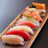 前菜・造り・焼物・温物・おまかせ寿司11貫・留椀・デザート